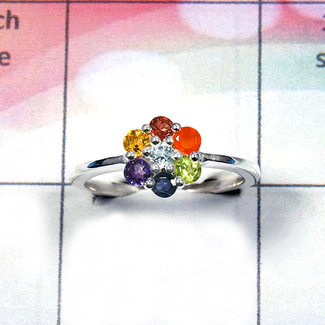 Chakra Cut Ring - BCJ010-Solid 925 Sterling Silver Ready To Ship Seven Stone Healing Chakra Ring