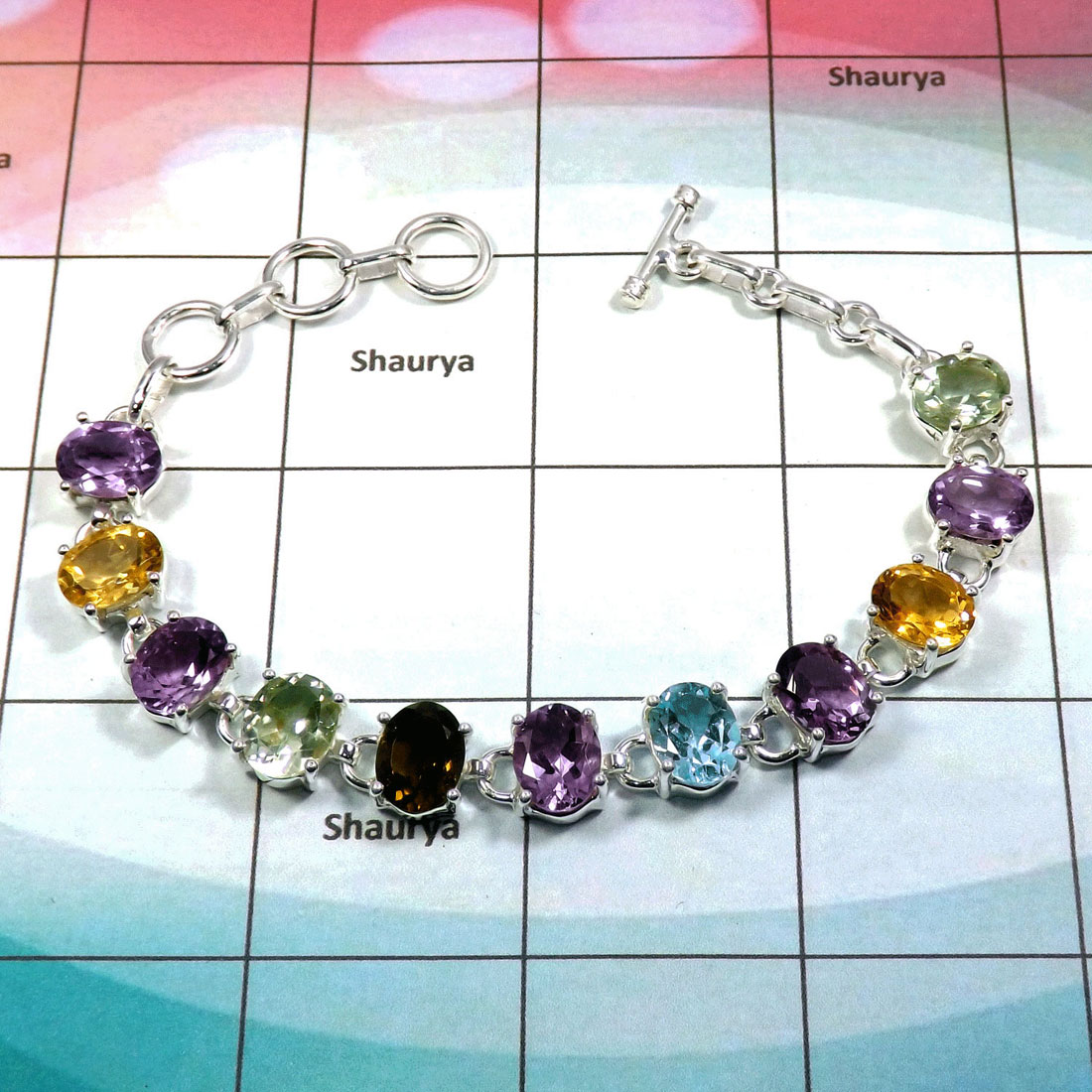Multi Cut Bracelet B- DWB995-Solid 925 Sterling Silver with Multi Cut Gemstone Handmade Wholesale Bracelet