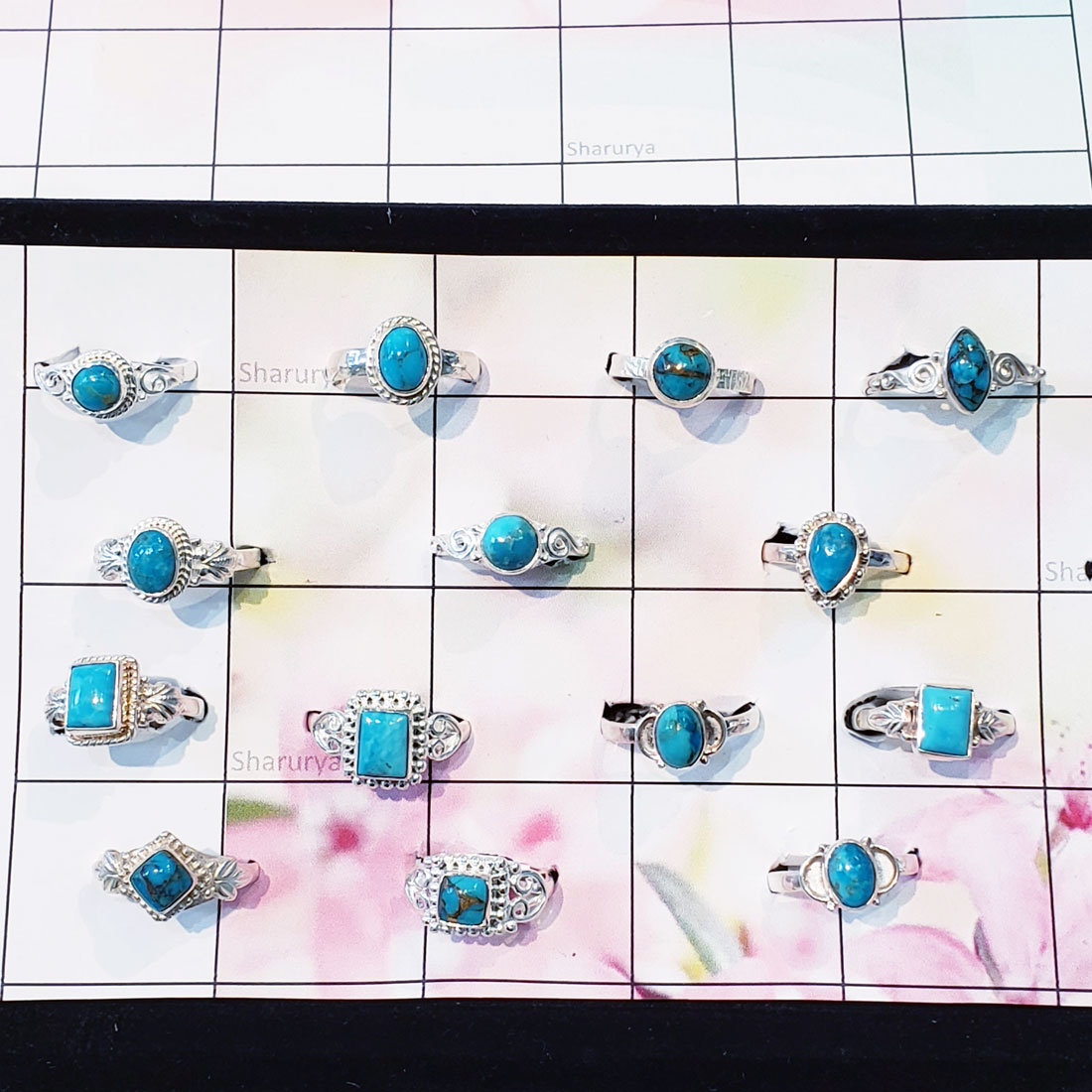 100 Gram Blue Turquoise Ring - RJW-003-32 to 36 Pcs Blue Turquoise Handmade Small Designer Wholesale Rings Lot
